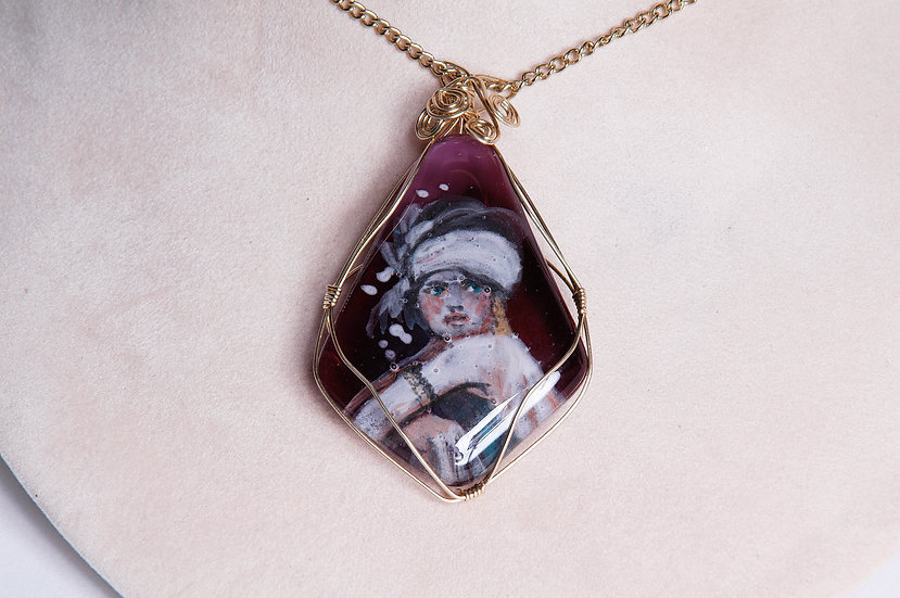 Gold Wire Wrapped Hand Painted Glass Necklace