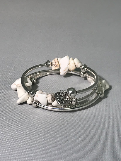 Silver Plated Wrapped Bracelet w/Magnesite Natural Stone Nuggets