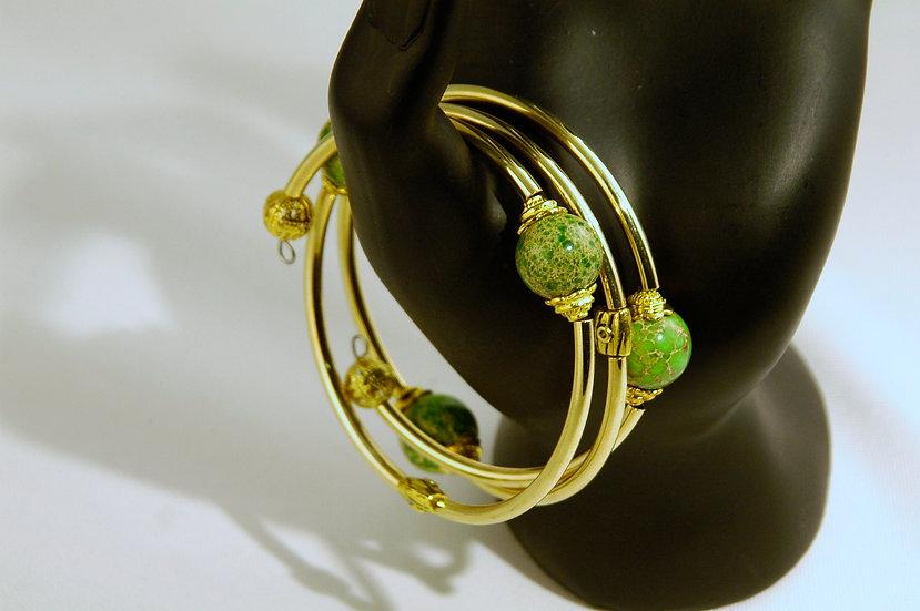 Gold Plated Wrap Bracelet  Imperial Jasper Stones