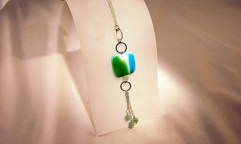 Silver Fused Glass Necklace