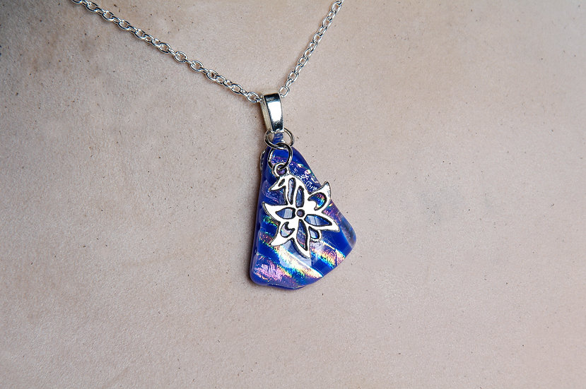 Silver Dichroic Glass Necklace with Charm