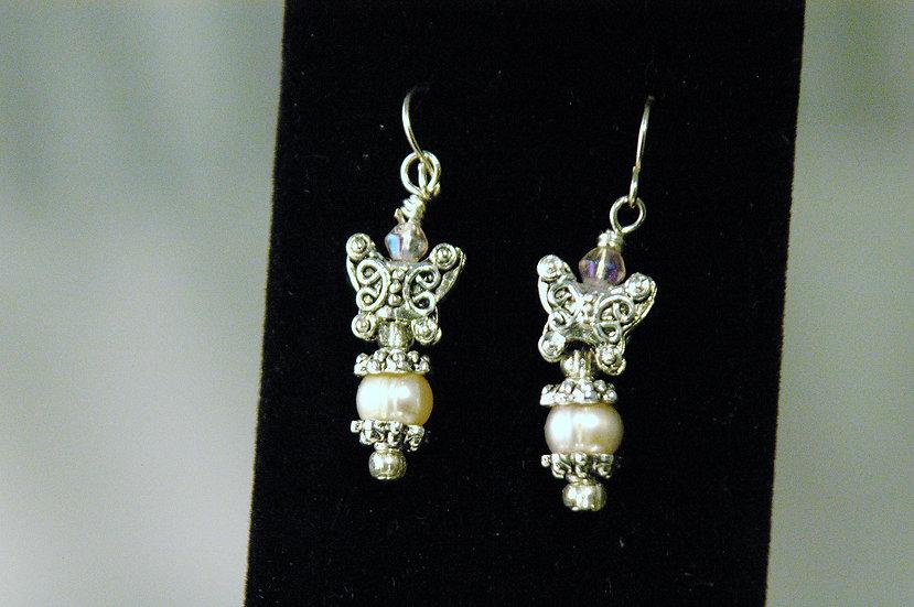 copy of Silver Tone Earrings Greenish Pearls &