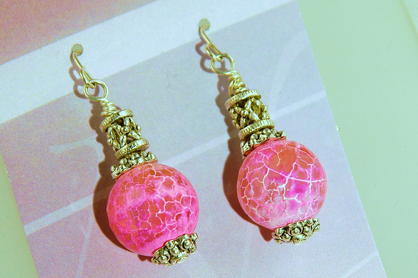 Silver Tome Pink Faceted Agate Earrings