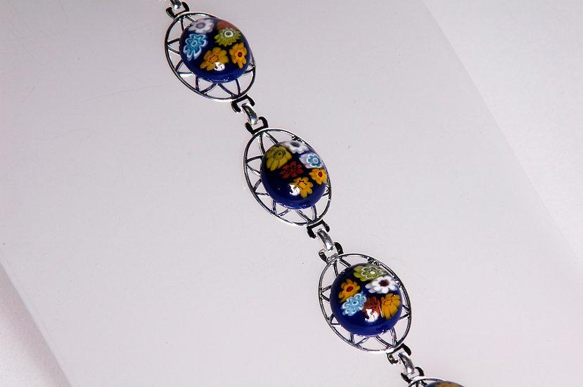 Silver Murano Millefiori Glass Bracelet
