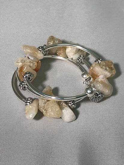 Silver Plated Wrapped Bracelet w/Citrine Stone Nuggets
