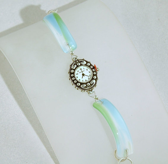 Blue/Green Fused Glass Watch