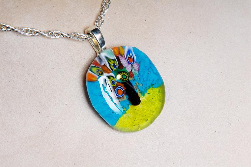 Silver Murano Millefiori Glass Necklace