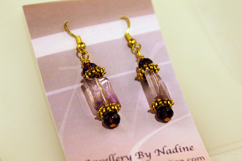 Gold Tone Purple Aventurine Faceted Stone Earrings
