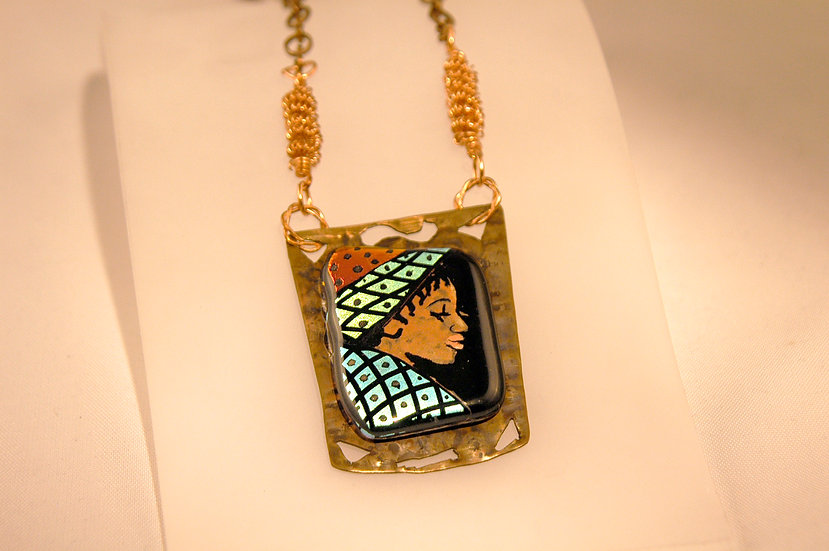 Copper Dichroic Glass HandPainted Necklace