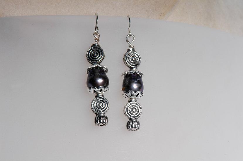 Silver Dark Violet Black Pearl Earrings