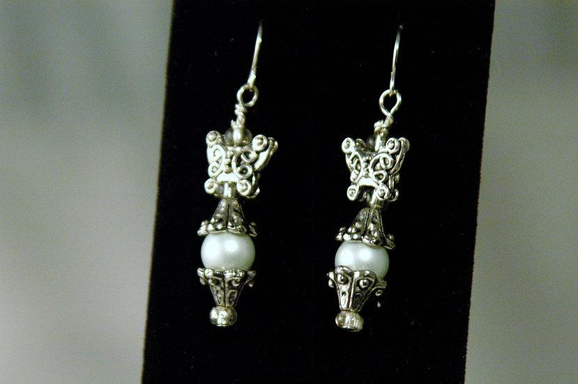 Silver Tone Earrings Greenish Pearls & Butterfly