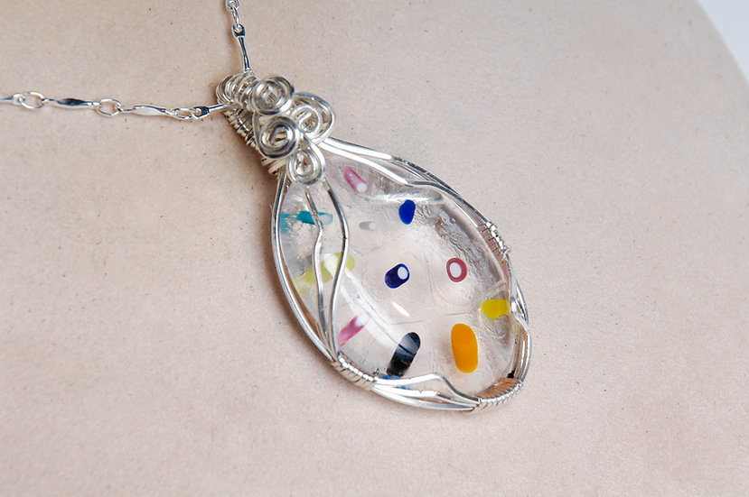 Silver Wire Wrap Murano Millefiori Glass Necklace