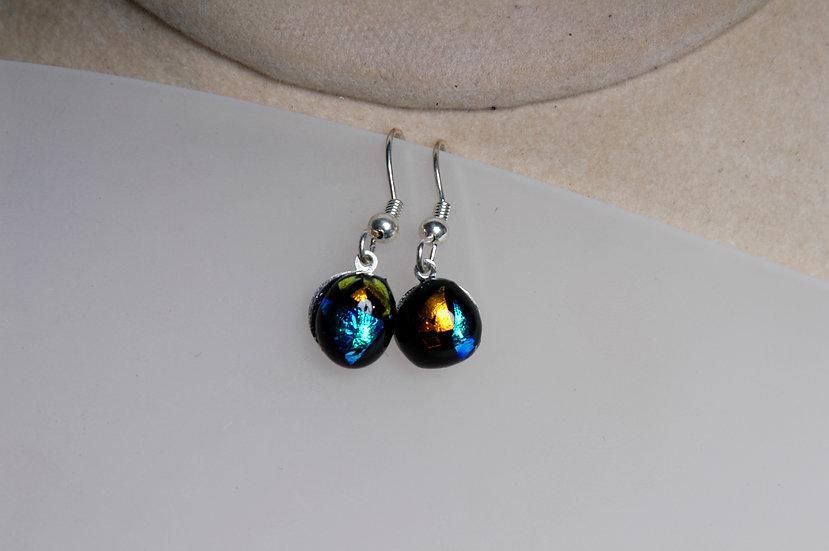 Silver Dichroic Glass Earrings