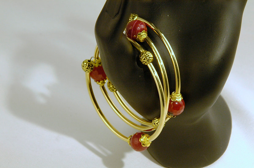 Gold Plated Wrap Bracelet Red Agate Faceted Stones