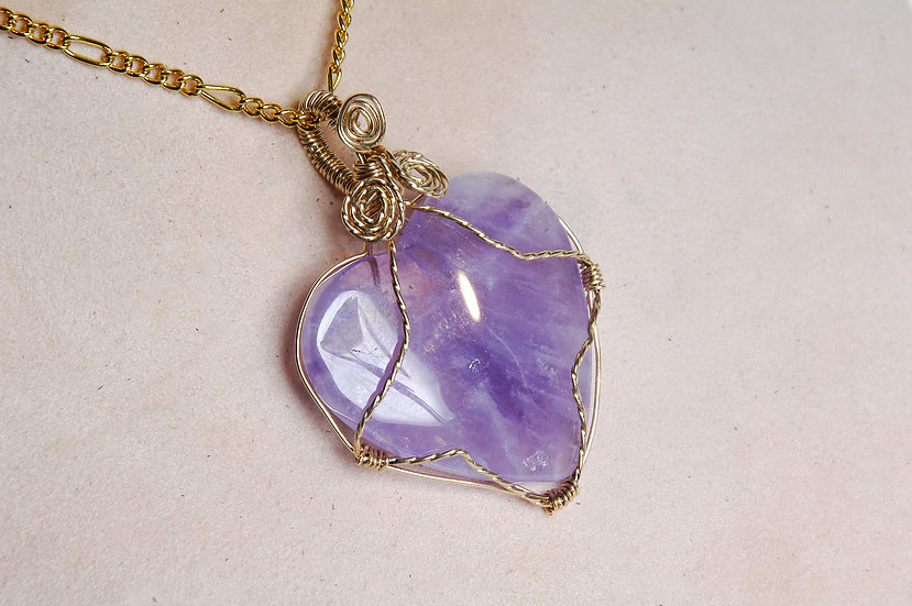 Gold Filled Wire Wrapped Purple Aventurine Necklac