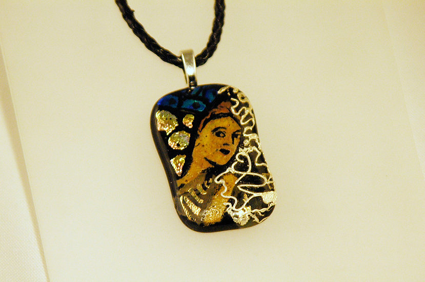 Silver Embellished Dichroic HandPainted Necklace