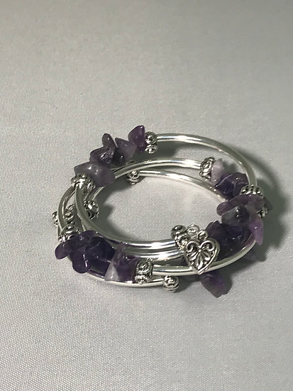 Silver Plated Wrapped Bracelet w/Amethyst Stone Nuggets