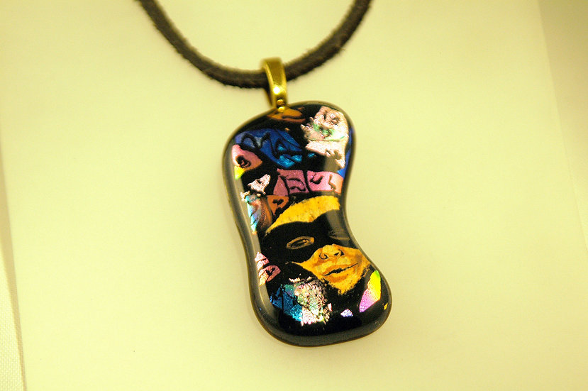 Gold Tone Dichroic Glass HandPainted Necklace