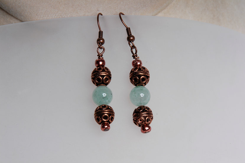 Copper with Green Aventurine Bead Earrings