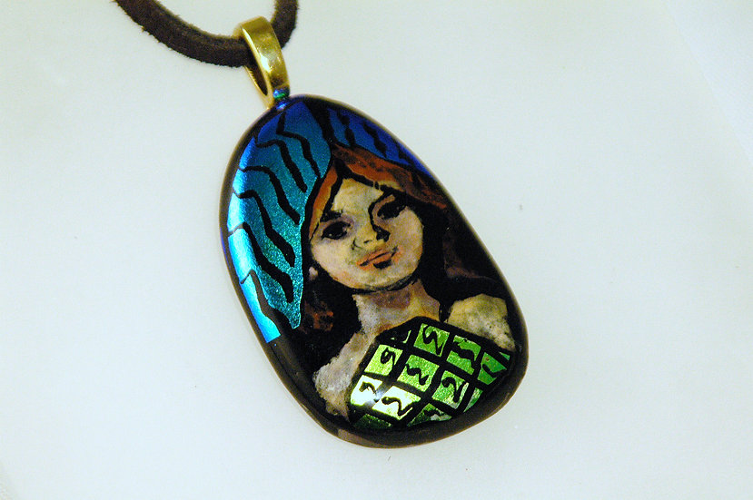 Gold Tone Dichroic Handpainted Necklace