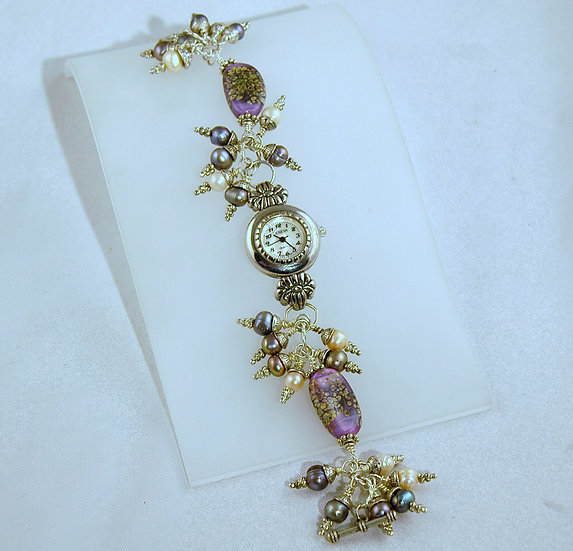 Silver Tone Torch Bead with Lavendar Pearls Watch