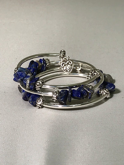 Silver Plated Wrapped Bracelet w/Lapis Stone Nuggets