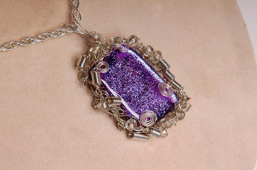 Silver Wire Wrapped Dichroic Necklace