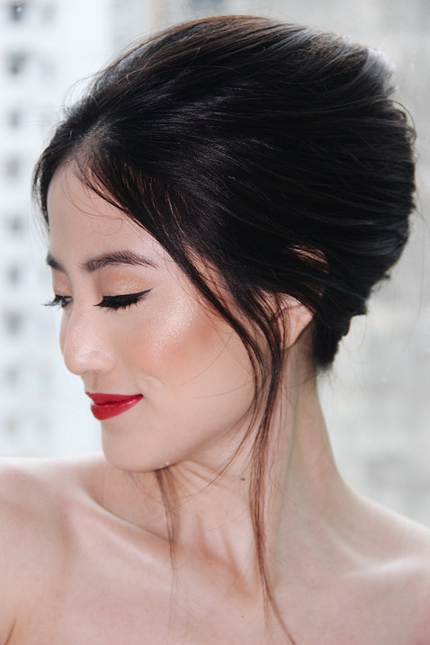 CLASSIC BRIDE: FRENCH TWIST + RED LIP