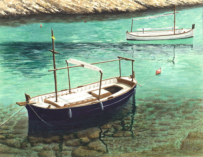 Menorcan fishing boats, Binisafuller, Menorca.