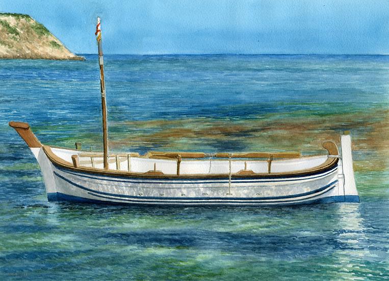 Menorcan fishing boat, Es Grau, Menorca.