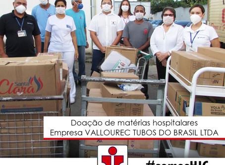 Doação de matérias hospitalares pela empresa da empresa VALLOUREC TUBOS DO BRASIL LTDA