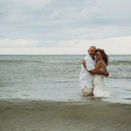 Clearwater Beach Wedding Bride and Groom in Water