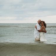 Clearwater Beach Wedding Bride and Groom in Water