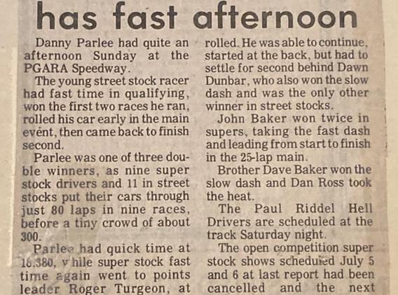 June 22/80 recap, Danny Parlee featured roll over
