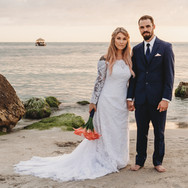 Floating Tiki Hut and beatiful wedding couple on Madeira Beach Florida