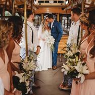Trolly to beach wedding Sand Key Beach Sarasota Florida