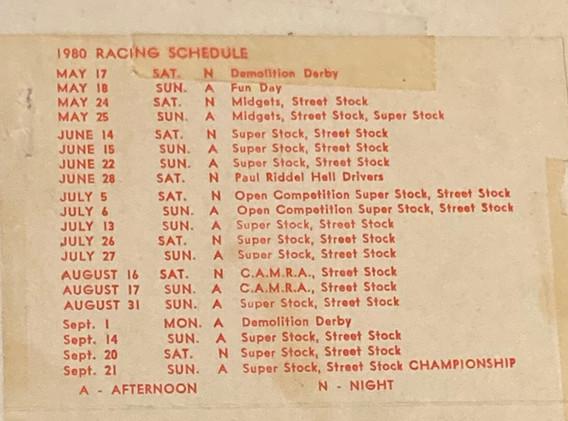 1980 Official Season Schedule