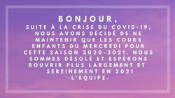 Information cours saison 2020-2021