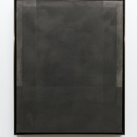 """Stephen Somple """"Untitled"""" Graphite on Canvas in Oxidized Brass Frame 20""""x16""""x2"""" 2018"""