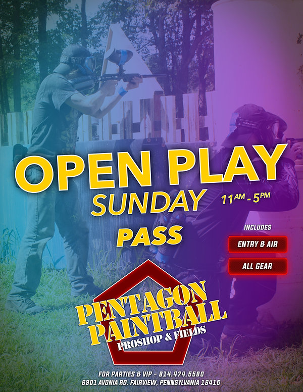 20 - Pentagon Paintball - OPEN PLAY PASS