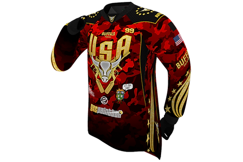 Buffalo Paintball Custom Red & Gold 2021 USA Jersey