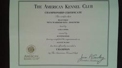 Anka's AKC Championship