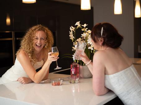 3 girls, 2 wedding dresses and 1 camera (plus some wine)