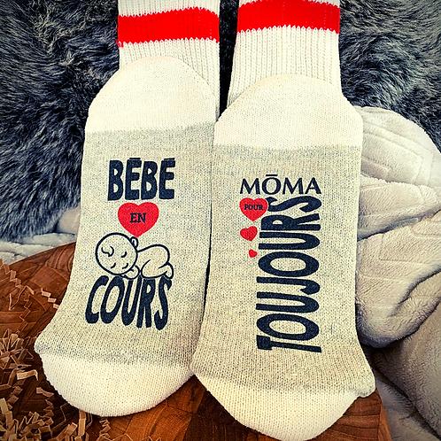 """Bas de laine """"Bébé en cours -MŌMA pour toujours"""""""