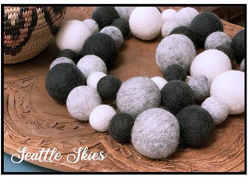 SEATTLE SKIES wool felt ball garland