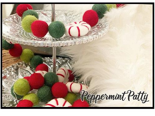 PEPPERMINT PATTY wool felt ball garland