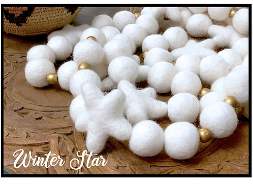 WINTER STAR Wool Felt Garland