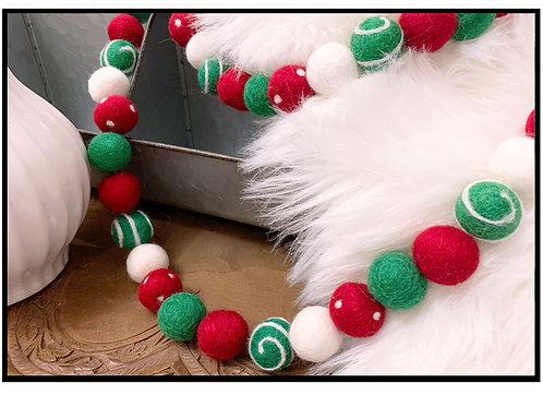 CHRISTMAS CHEER felt ball garland