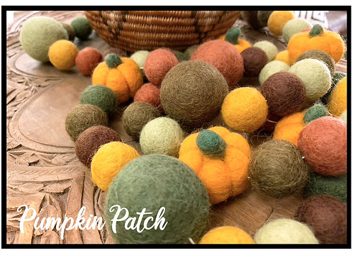 PUMPKIN PATCH wool felt ball garland