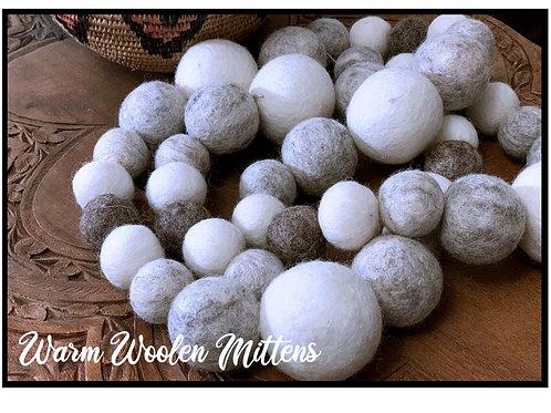 WARM WOOLEN MITTENS wool felt ball garland